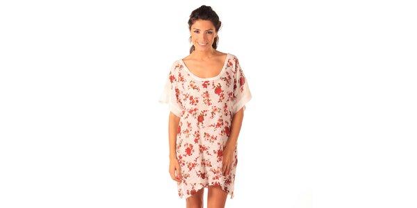 Dámské bílé vzdušné šaty s růžičkami Caniche