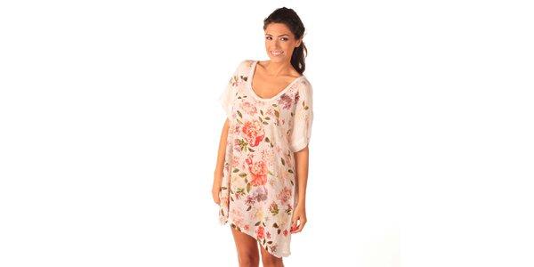 Dámské bílé vzdušné šaty s růžemi Caniche