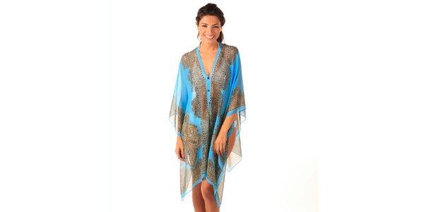 Dámské modré transparentní šaty s potiskem Caniche