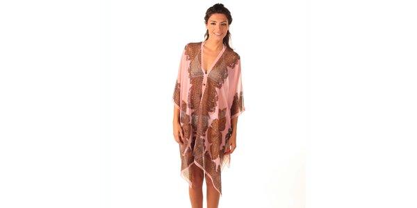 Dámské růžové transparentní šaty s potiskem Caniche