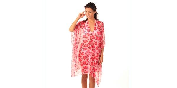 Dámské růžovo-červené transparentní šaty s potiskem Caniche