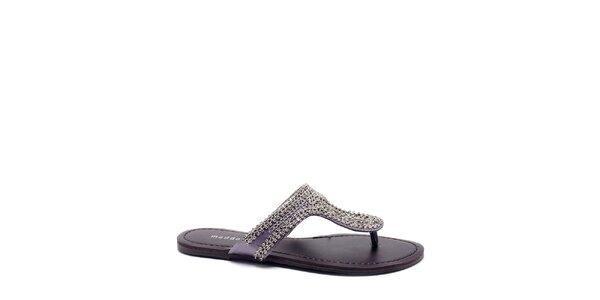 Dámské fialovo-stříbrné žabky s řetízky Madden Girl
