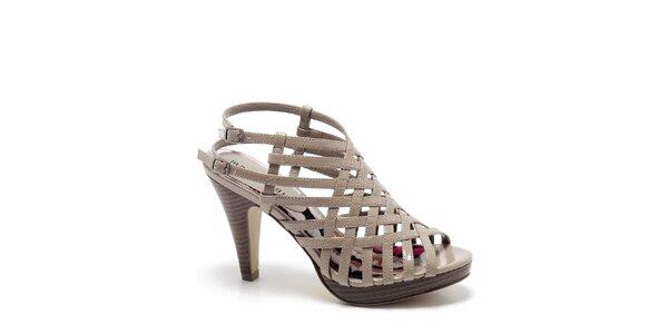 Dámské béžové páskové sandály s podpatkem Madden Girl