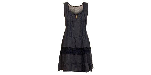 Dámské tmavě modré lněné šaty s krajkovým lemem Puro Lino