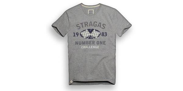 Pánské světle šedé triko s potiskem Paul Stragas