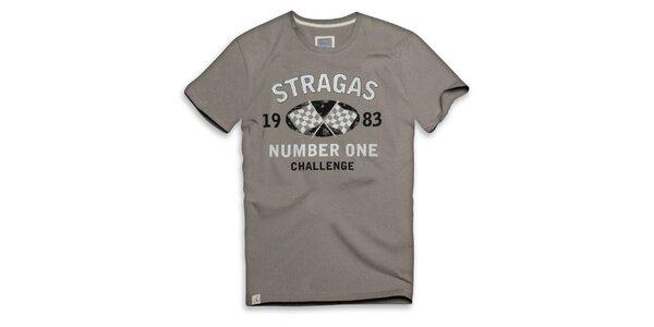 Pánské béžovo-šedé triko s potiskem Paul Stragas