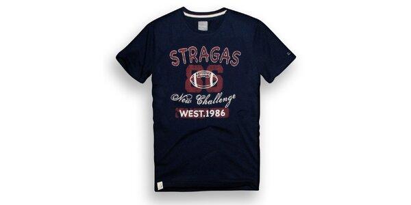 Pánské tmavě modré triko s potiskem Paul Stragas