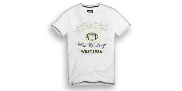 Pánské bílé triko s potiskem Paul Stragas