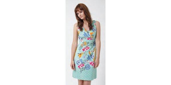 Dámské minty šaty Uttam Boutique s květinovým potiskem