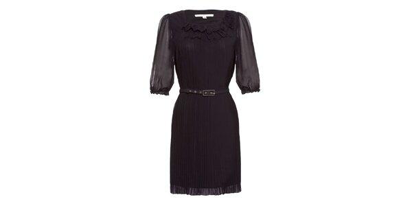 Dámské černé plisované šaty s páskem Uttam Boutique