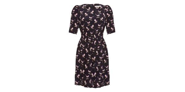 Dámské černé šaty s potiskem ptáčků Uttam Boutique