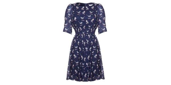Dámské tmavě modré šaty s potiskem ptáčků Uttam Boutique