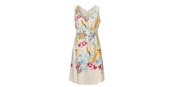 Dámské krémové šaty Uttam Boutique s květinovým potiskem