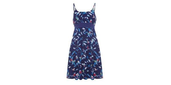 Dámské tmavě modré šaty se špagetovými ramínky a potiskem Uttam Boutique