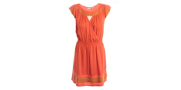 Dámské oranžovo-béžové šaty s jemným vzorkem 2two