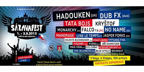 3denní vstupenka na festival Sázavafest 2013