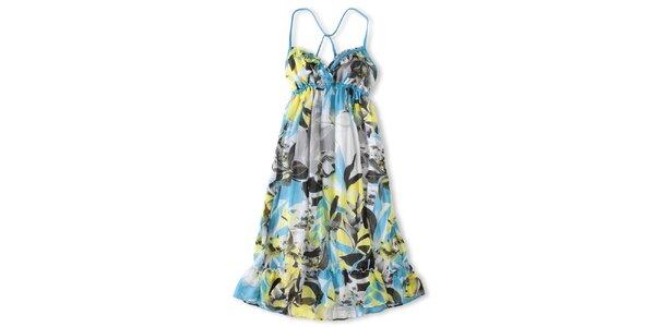 Dámské modro-žluté šaty Brunotti s havajskými květy