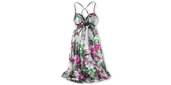Dámské bílé šaty s růžovo-zeleným potiskem Brunotti