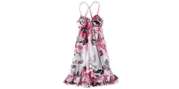Dámské bílé šaty s růžovo-černým potiskem Brunotti