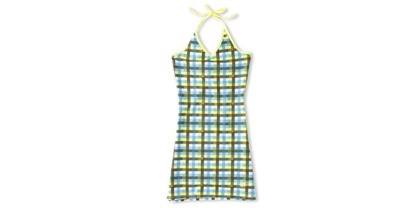 Dámské tyrkysovo-žluté šaty s kostkovaným vzorem Brunotti