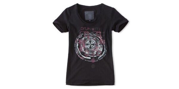 Dámské černé tričko s růžovým potiskem Brunotti