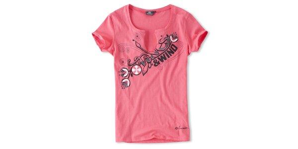 Dámské malinové tričko s výstřihem Brunotti