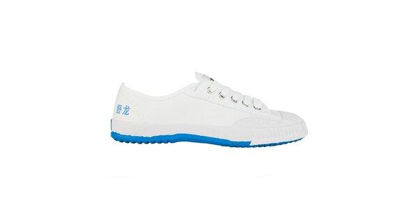 Nízké bílo-modré tenisky se znaky Shulong