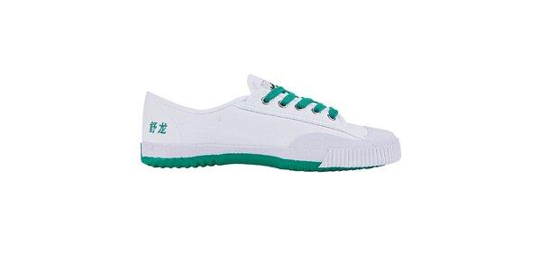 Nízké bílo-zelené tenisky se znaky Shulong