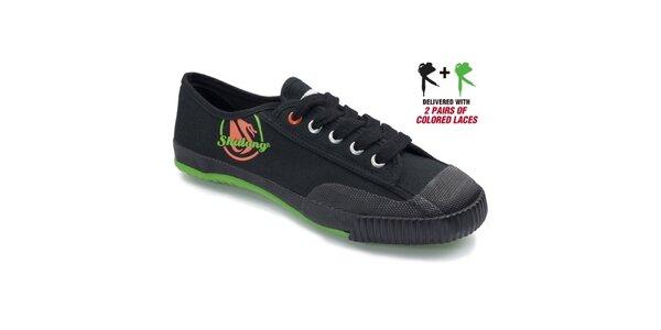 Pánské černé tenisky se zelenou podrážkou Shulong
