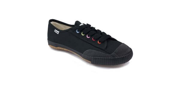 Černé nízké tenisky s barevnými dírkami Shulong
