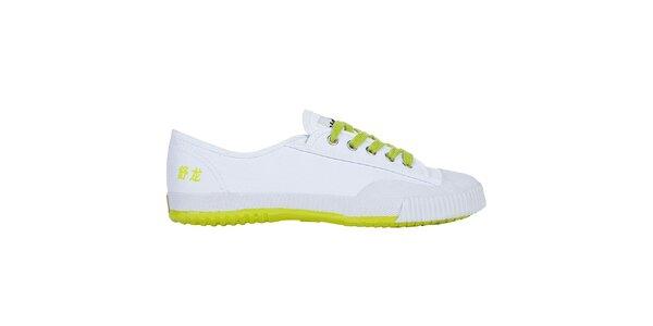 Nízké bílo-žluté tenisky se znaky Shulong