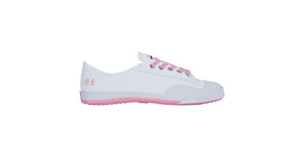 Dámské nízké bílo-růžové tenisky se znaky Shulong