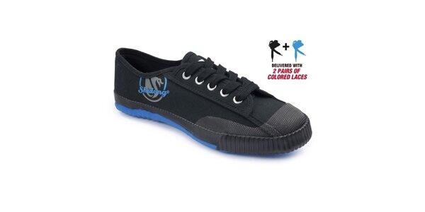 Dámské černé tenisky s modrou podrážkou Shulong