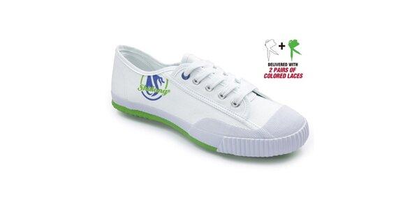 Bílé tenisky se zelenou podrážkou Shulong