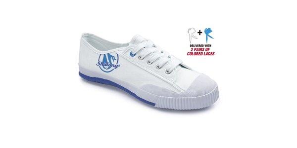Bílé tenisky s modrou podrážkou Shulong