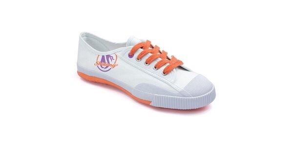 Bílé tenisky s oranžovou podrážkou Shulong
