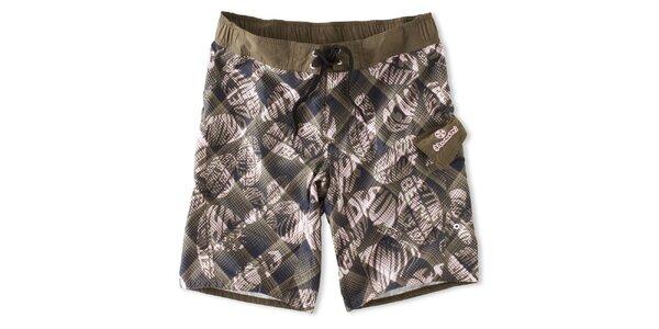 Pánské hnědo-šedé kárované koupací šortky Brunotti