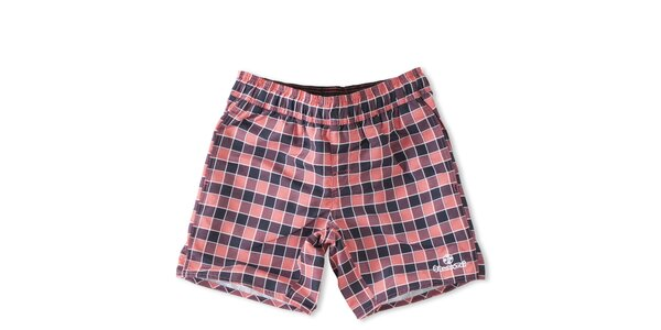 Pánské růžovo-fialové kostkované koupací šortky Brunotti