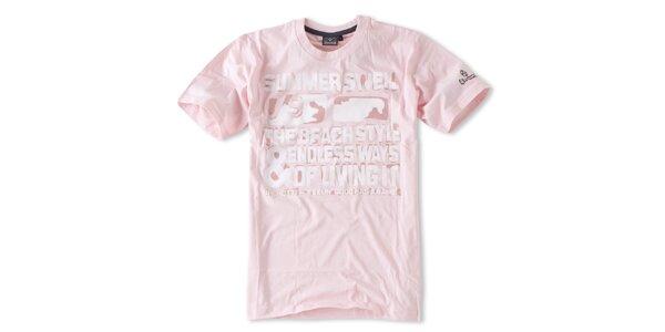 Pánské růžové tričko s nápisy Brunotti