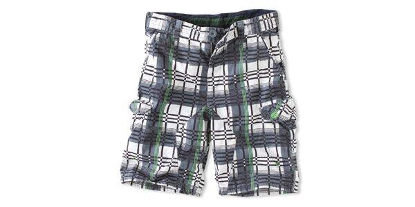 Pánské zeleno-tmavošedé kostkované šortky Brunotti