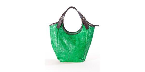 Dámská zelená kabelka s hadím vzorem Luisa Vannini