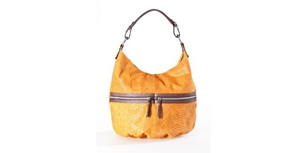 Dámská velbloudí kabelka s hadím vzorem a dvojitými zipy Luisa Vannini