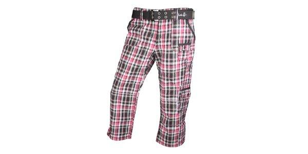 Dámské černo-růžové kostkované 3/4 kalhoty Authority