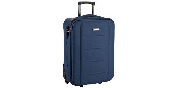 Modrý látkový kufr na kolečkách Movom