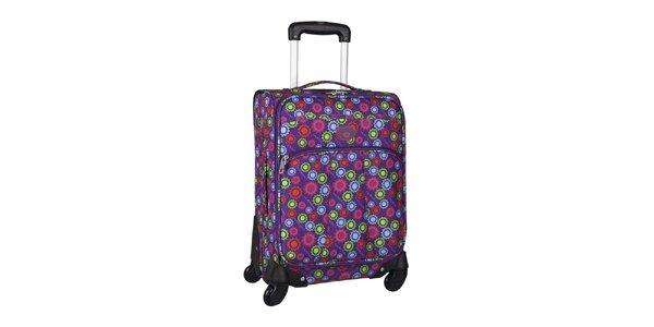 Dámský fialový kufr na kolečkách se sluníčky Movom