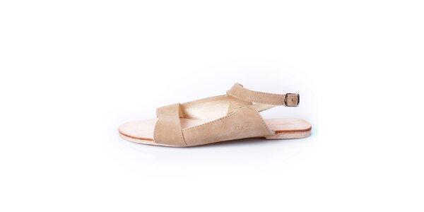 Dámské béžové kožené sandálky GAS