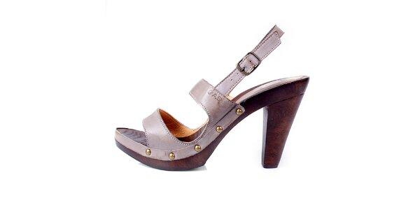 Dámské béžové kožené sandále GAS