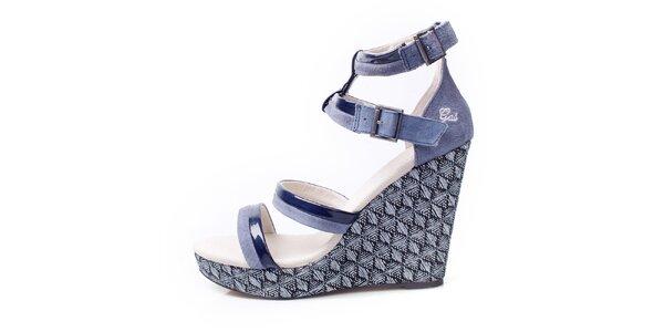 Dámské šedo-modré sandálky na klínku GAS