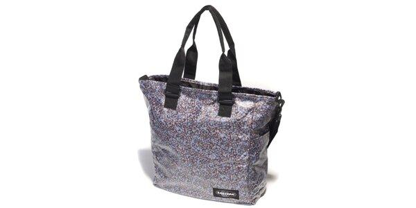Dámská tmavě hnědá taška Eastpak s fialovým kytičkovým potiskem