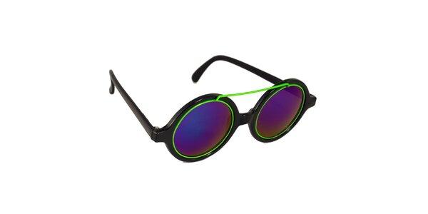 Dámské černo-fialové lenonky se zeleným detailem Jeepers Peepers